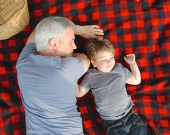 Picnic, Throw Blanket, USA-Milled Wool in Red and Black Buffalo Plaid- Father and Son- Gift for Men