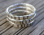 ONE fine silver stacking ring- hand stamped -stackable ring hand made to order- custom moms jewelry stacker ring