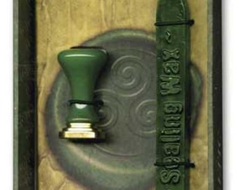 Stationary Supplies Sealing Green Wax with wick Kit, Celtic Wicca Stamp Design -personalize customize invitations