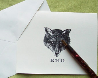 Fox Personalized Notecards Vintage Inspired Fox Head Note Cards Man Gift Woodland Forest Stationery preppy monogram Set 10 Equestrian Chic
