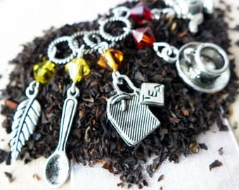 SALE - I Love Tea - Five Handmade Stitch Markers - Fits 5.0mm (8 US) To 9.0mm (13 US) - Open Edition