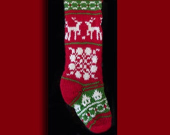 Hand knit Christmas stocking,  Personalized, made of pure wool yarn,  fully lined -- reindeer, house, wreath and snawflake