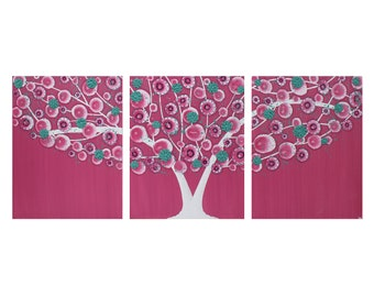 Teen Wall Art for Girl Bedroom in Teal and Pink - Tree Painting on Canvas Triptych - Medium 35x14