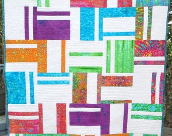 Bold, Bright and Modern Handmade Baby Quilt