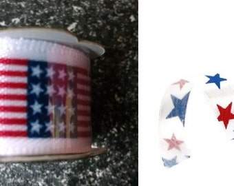 Mini Spool - Satin Americana/4th of July Themes Ribbon - 6ft - Choose Style | Patriotic | Americana | Flag