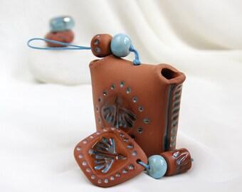 Ceramic Romantic terracotta and Turquoise shamanic garden-home Bell -- Hand Made Ceramic Eco-Friendly Home Decor by studio Vishnya