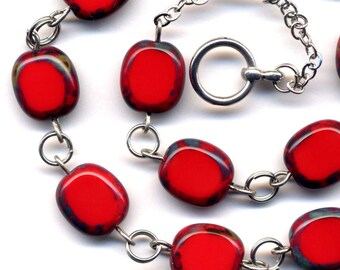 Scarlet Red Necklace, Red  Necklace with Unique Czech beads, Modern Necklace, Mod Necklace,Jewelry by AnnaArt72