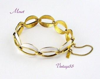 Bracelet Monet White Enamel Gold tone Vintage