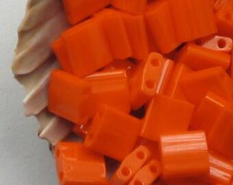 Orange Tila Beads, Opaque Orange # 406, 5mm Two Parallel Hole Beads, Bright Lifeguard Orange Glass, Flat Square Small Tiles