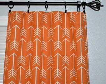 "Orange Arrow Curtains, Pair of Rod Pocket Panels, Apache Orange Macon White Arrow Archery Tribal - 25"" or 50"" wide -  You choose length"