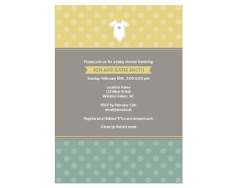 Printable Polka Dot Baby Shower Invitations