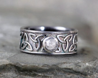 Raw Diamond Ring - Celtic Knot Design Band  - Rustic Engagement Ring – April  Birthstone – Uncut Rough Diamond – Conflict Free Gemstone