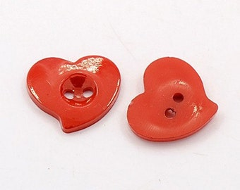 Red Heart Buttons - Set of 50 - #BUTTON117