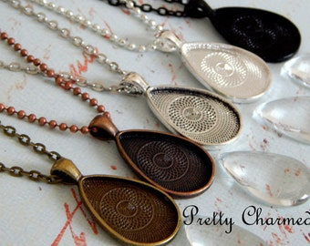 25 Teardrop Pendant Kits - 20x30mm Pendant Trays with Matching Glass and Link or Ball Chains 5 Colors