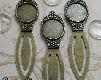 5 DIY Bookmark Kits - Antique Bronze / Brass Settings with Matching 18mm Clear Glass Cabochons