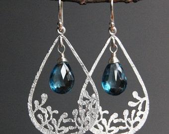 London Blue Topaz Delicate Chandelier Earrings in Silver, Matte Finish