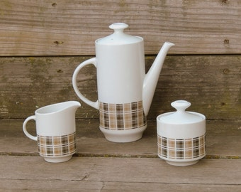 MidCentury Modern Coffee Set: Plaid 'Highlander' Pattern 3909, Harmony House Japanese Porcelain