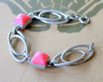 Vintage Bracelet 1960s Statement Pink and Silver Tone