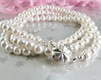 White Pearl Necklace - White Swarovski Pearl Necklace - 6mm White Pearl Necklace - Single Strand Pearls - Wedding Jewelry - Bridesmaid Gift