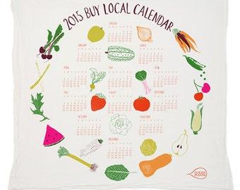 SALE Buy Local 2015 Calendar Tea Towel