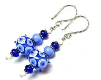 White Blue Earrings Lampwork Earrings Glass Earrings Beaded Earrings Artisan Earrings Blue White Earrings Dangle Earrings Handmade Earrings