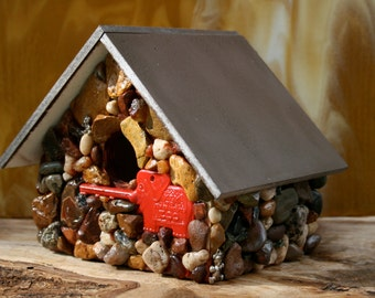 Handmade Birdhouse Colorful Stones & Elephant Zoo Key Accent Functional Birdhouse