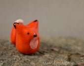 Little Orange Fox - Hand Sculpted Miniature Ceramic Animal Miniature Figurine