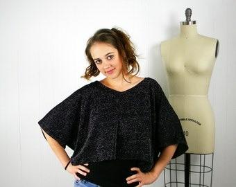 Crop Top, Sparkle Crop Top, Glitter Shirt, Womens Black Shirt,  Oversize Shirt, Sparkle Shirt