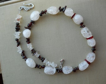 Simple Chunky Quartz necklace Red Necklace Chunky Jewelry simple choker necklace Ice Flake Quartz red crystal Garnet Chips made USA