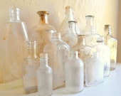 Instant Collection of Unique Old Clear Glass Apothecary Bottles 14