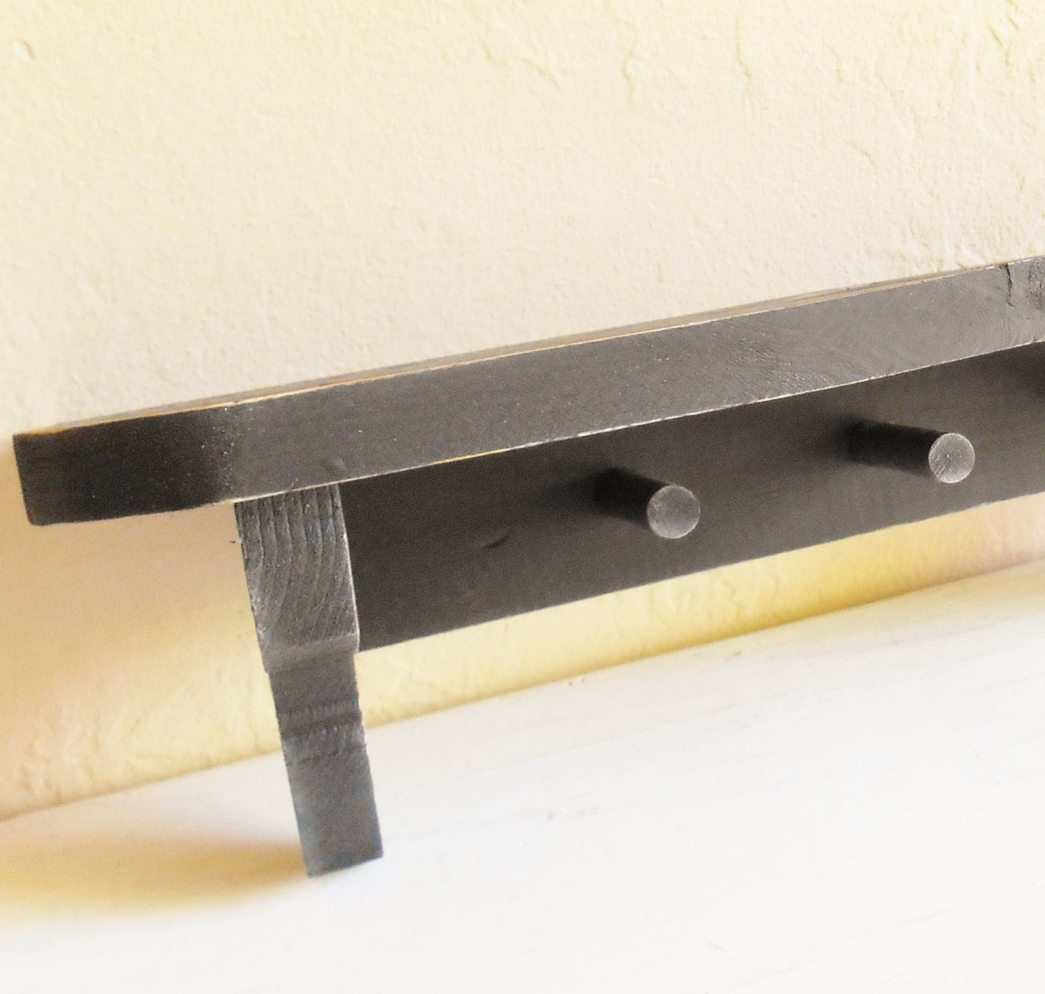 Wonderful image of Black Distressed Wood Wall Shelf with Peg Hooks by ShabbyNChic with #A38228 color and 1500x1427 pixels