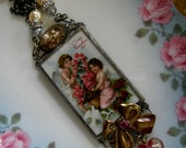 Valentine's Day - Romantic Assemblage Soldered Glass Necklace - Wedding Jewelry - Bridesmade Jewelry - Engagement Jewelry