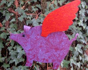 "Metal garden art ""when pigs fly"" sculpture metal yard art stake flying pig outdoor living purple red orange 9 x 11"