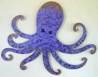 Metal wall art Octopus wall sculpture - Otis - upcycled metal octopus ocean decor  purple lavender nursery kids Room beach house