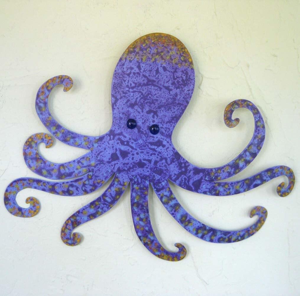 metal wall art octopus wall sculpture otis upcycled metal. Black Bedroom Furniture Sets. Home Design Ideas