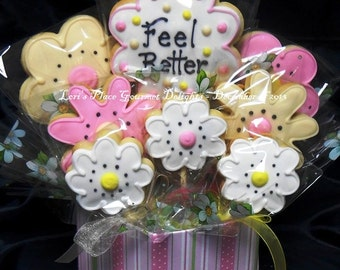 Get Well Cookie Bouquet - 9 Cookies