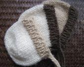 knit two color bonnet - newborn - brown tan cream - photo shoot prop - baby girl boy round bonnet cap - hand knit - choose colours