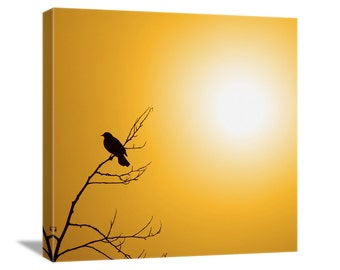 "Bird Photography ""Good Morning Sunshine"" Nature Photography, Mustard Yellow Sky, Fog Photo, Black Bird Picture, Bird Art Canvas Gallery Wrap"