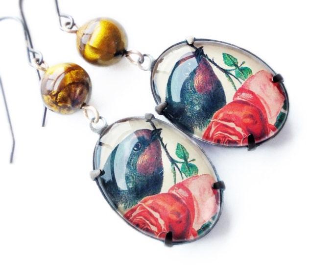 Bird Rose Earrings Large Vintage Floral Cameo Rose Dangles Bird Art Victorian Bird Jewelry Romantic Statement