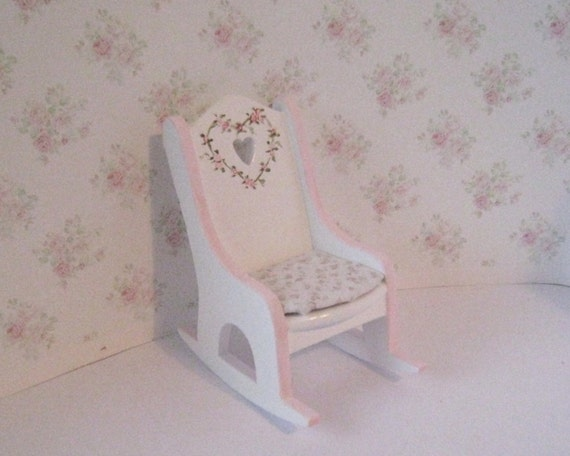Nursery Rocking Chair Pink And White By Insomesmallwayminis