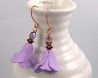 Purple Flower Blossom earrings, rustic whimsy polymer clay and glass beaded dangles on copper wire