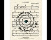 In My Life by The Beatles Song Lyric Sheet Music Art Print, Custom Wedding and Anniversary Art, Spiral Song Lyric Art Print, Music Art