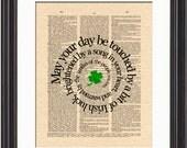 Irish Blessing On Vintage Dictionary Page Art Print, Irish Blessing in Spiral Art, Irish Saying, Irish Prayer, Irish Quote
