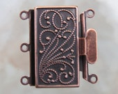 23x21x4.5mm Antique Copper Finish on Solid Brass Metal 3 Strand Box Clasp (FS43)