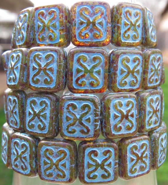 il 570xN.734620378 919q 12x11mm Transparent Aged Green Picasso Blue Patina Czech Glass Rectangle Beads   Qty 15 (BS129) by beadsandbabble