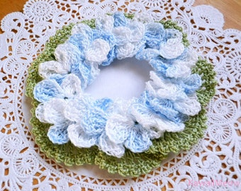 Kawaii Crocheted Hair Scrunchie Hydrangea
