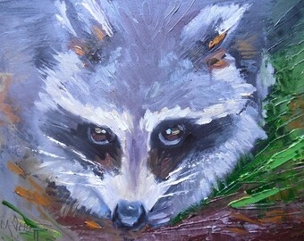 "Wildlife Painting, Small Oil Painting, Daily Painting, ""The Bandit"" by Carol Schiff, 6x8"" Oil"