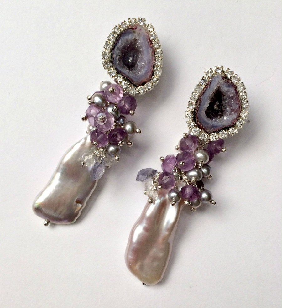 Tabasco Geode Druzy Earrings Biwa Pearl Cluster Earring Wire