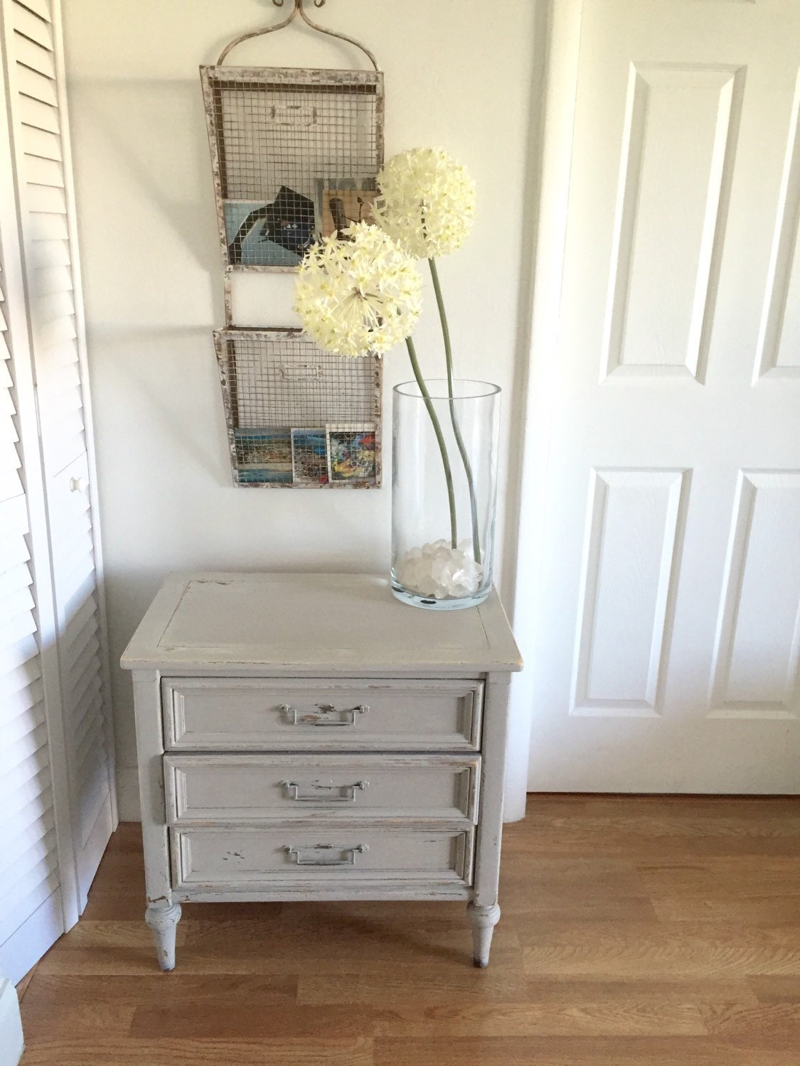 Distressed Foyer Console Table : Shabby chic distressed end table silvery grayish white