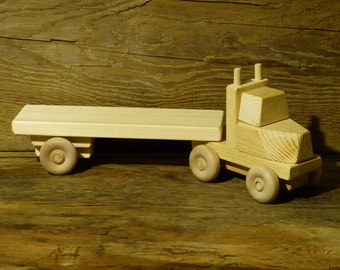 Handmade Wooden Toy Truck Flatbed Trailer Green Ecofriendly Natural boys kids birthday present gift  wood toys
